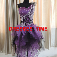 2013 Sexy Stunning One-shoulder Short Purple Satin Cocktail/Homecoming/Sweet 16/Prom/Party dress with beadings