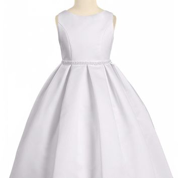 (Sale) Girls 3T 4T White Bridal Satin Formal Dress w. Pleated Skirt & Pearl Trim