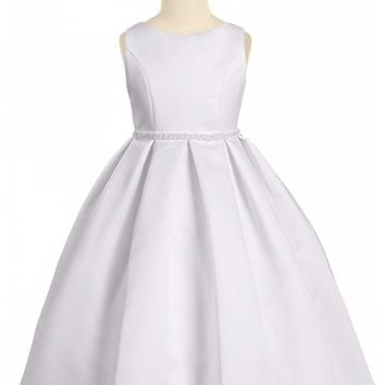 Girls White Bridal Satin Formal Dress w. Pleated Skirt & Pearl Trim 2T-14