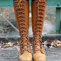 Vintage 70's Brown Leather Lace Up Boots