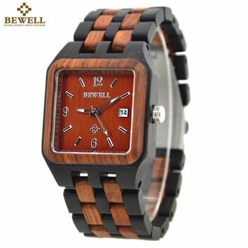 BEWELL Mens Fashion Wood Watch Rectangle For Sale Men Branded Wooden Watch Men A