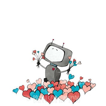 Hearts and Robot Art Print - Happy Robot Children's Room Decor, Robot Love, Flower Heart Field