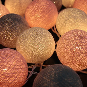 Pink Pastel  Cotton Ball String Light  Fairy Light Bedroom or Party