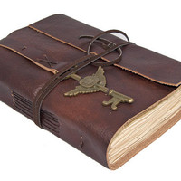 Brown Leather Journal with Tea Stained Pages and Winged Clock Key Bookmark