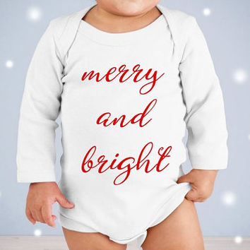 Merry and bright Christmas Onesuit. Merry Christmas Onesuit. Baby's first Christmas Onesuit. Girl Christmas Onesuit. Christmas baby shower gifts