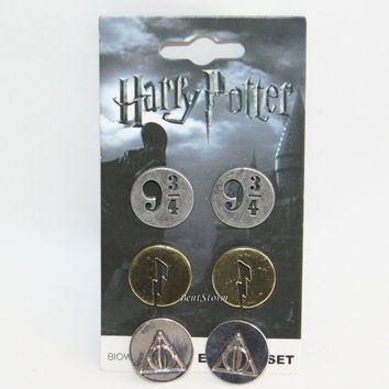Licensed cool Harry Potter Deathly Hallows 9 3/4  Lightning Bolts 3PK Metal Stud Earrings NEW