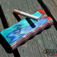 Handmade Wood Dugout Smoke Box Multi Color With One Hitter Bat By RidinH1 Designs