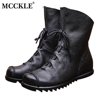 MCCKLE 2017 Women fashion Vintage Genuine Leather Boots Spring Autumn New Fashion Platform Ankle Boots Casual Cowboy Boots Shoes