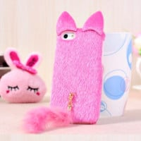 "iPhone 6 4.7 inch Cute 3D Hello Kitty cat case cover Fuzzy fur surface For iPhone 6 plus + 5.5 inch fluffy Tail cat case "" FREE SHIPPING """