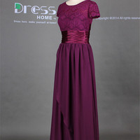 New 2014 Fuchsia Short Sleeves Lace A Line Long Bridesmaid Dress/Mother of the Brides Dress/Wedding Party Dress/Elegant Simple Wedding DH268