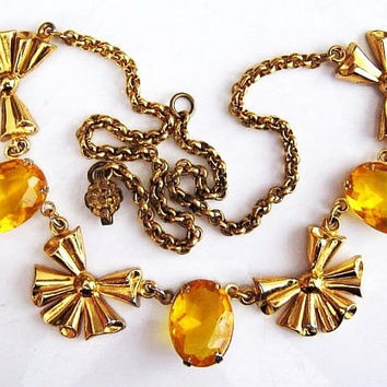 """Art Deco CORO Necklace Signed Yellow Art Glass Gold Ribbons 18"""" Vintage"""