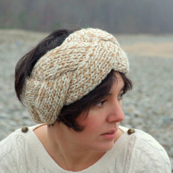 Cable knit headband / ear warmer by CozySeason on Etsy