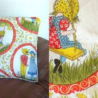 Holly Hobbie Quilted Pillow Case Sham 70's Vintage Country Home Goods