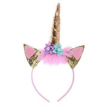 Gold and Silver Unicorn Floral Headband with Glitter Ears