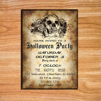 Skull Halloween Invitation Printable Halloween Invitation Gothic Halloween Invite Adult Halloween Editable Invitation MS Word Doc DIY Invite