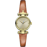 VV090GDBR PVD gold-plated metal and leather watch