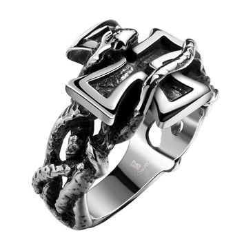 Rebellious - Snake & Cross Ring - Silver