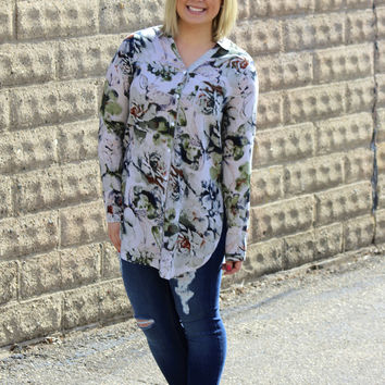 Floral Tunic with Side Slits