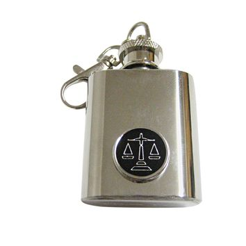 Black Scale of Justice Law 1 Oz. Stainless Steel Key Chain Flask