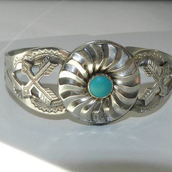 Vintage Hand Stamped Fred Harvey Era Arrows Turquoise Native American Navajo Silver Cuff Bracelet Jewelry Jewellery