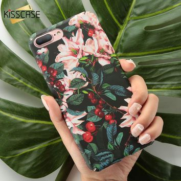 KISSCASE Matte Case For iPhone 7 7 Plus Phone Case For iPhone 6 6s Plus Tropical Hard Case For iPhone 8 8 Plus X Xs Max Xr Cover