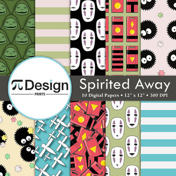 "12""x12"" Spirited Away Inspired Digital Paper Pack of 10 