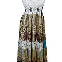 Womens Maxi Dress Patchwork Recycled Vintage Sari Bohemian Hippie Holiday Dresses (Multi 2)