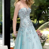 Tulle and Lace Long Gown by Alyce Prom