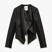 Tamela Rib Collar PU Jacket