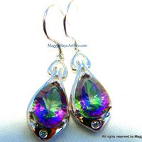 Mystic Topaz Teardrop Gemstone Dangle Earrings, Mystic Topaz Earrings