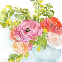 Ranunculus Watercolor Painting - 5 x 7 - Giclee Reproduction - Floral - Fine Art