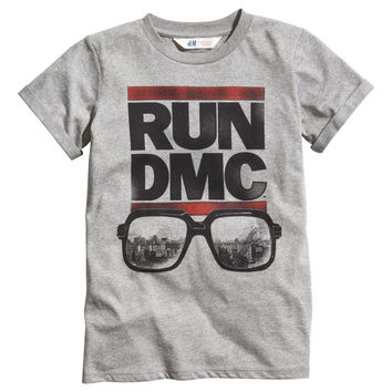 H&M - T-shirt with Printed Design - Gray - Kids