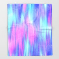 Aurora - Blur Abstract in Pink, Purple, Aqua & Royal Blue Throw Blanket by TigaTiga Artworks | Society6