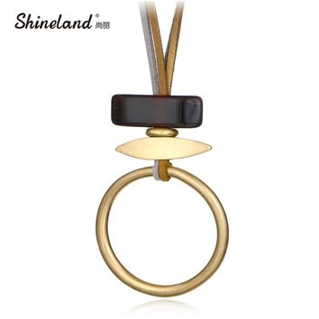 Shineland New Design 2 Layers Gold Silver Color Round Resin Stone Necklaces Pendants Fashion Punk Unique Long Collares Mujer