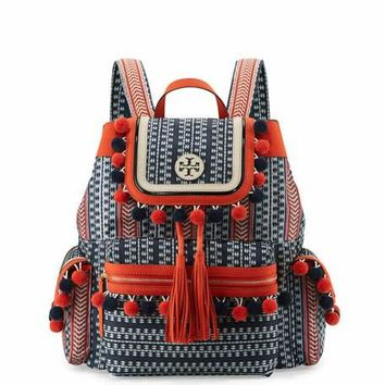 Tory Burch Scout Nylon Pompom Backpack, Tory Navy