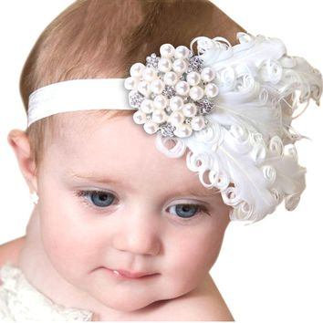 Feather Headband Kids Crystal Beads Flower Pattern Hair Accessories For Little girls Princess Hairband Cheveux haar accessoires