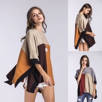 Women Loose Personality Casual Multicolor Middle Sleeve Big Shawl Cloak Sweater Tops
