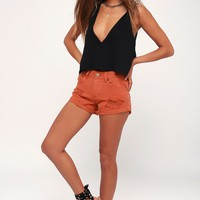 Crossroads Rust Orange Distressed Denim Shorts