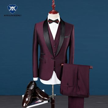 Slim Fit Men Suits Royal Blue Blazer Latest Coat Pant Designs 2017 Groom Wedding Dress Tuxedo Wine Red Suit Male 3 Pieces Suit