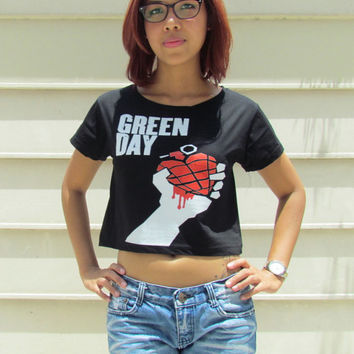 Green Day Ladies Rock Crop Top Tank Top Boyfriend TShirt Vest Singlet Bring Me The Horizon All Time Low My Chemical Romance Fall Out Boy