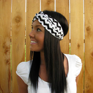 Black & White Chevron Stripe Print Stretch Twist Jersey Knit Cotton Turban Headband Hair Band Fashion Hair Accessories for Women- Adjustable