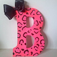 "Pink cheetah Letter- 9"" Hot pink Cheetah Leopard Initial Letter- Girl's room decoration"