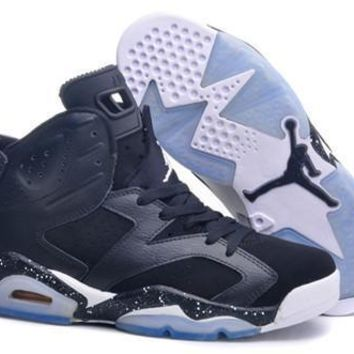 Hot Nike Air Jordan 6 Women Shoes Oero Black White