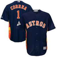 Men's Houston Astros Carlos Correa Majestic Navy 2017 World Series Bound Cool Base Player Jersey