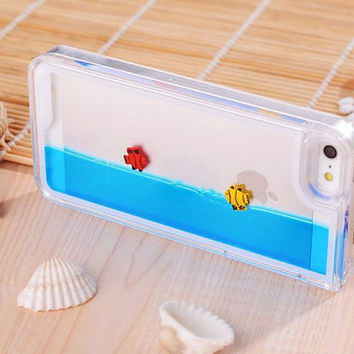 iPhone 5 6 6plus Aquarium Fish Tank Dynamic Liquid Hard Case Cover Bling cute Cases Swimming Fishes Free Float Case for iphone 5 5s iphone 6