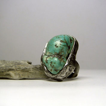 Jewelry by AMW - Gift Idea - For Her - Turquoise Howlite Raw Stone Ring