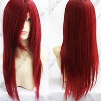 Top Fashion Women's Heat Resistant Long Red Straight Cosplay Hair Full Wig Wigs
