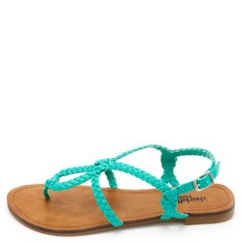 Looped & Braided Thong Sandals by Charlotte Russe - Teal