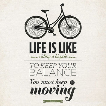 "Life quote typography Wall art - 16x20"" Archival Print on Matte Canvas - Life is like riding a bicycle quote art"