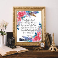 Bible verses art Bible quote Christian wall art For God so loved the world John 3:16 Scripture Print Printable 8x10 Digital Watercolor SALE